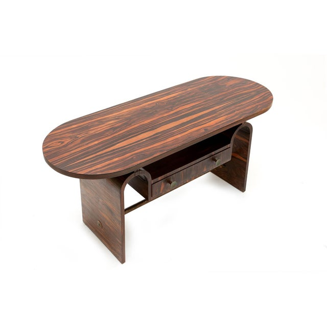 Modernist macassar Art Deco coffee table for Metz & Co For Sale - Image 4 of 7