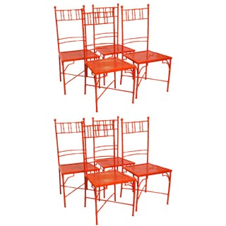 1960s Vintage Faux Bamboo Metal Garden Chairs- Set of 8 For Sale