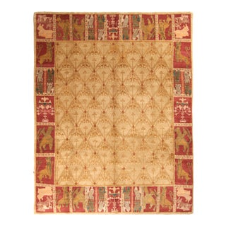 Contemporary European Style Rug Beige Red Custom Spanish Pattern by Rug & Kilim For Sale