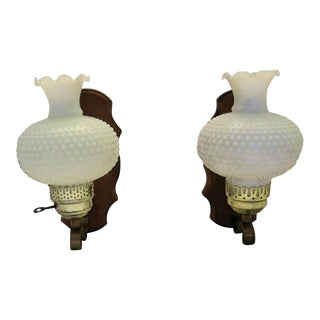 "Hobnail ""Leave It To Beaver"" Style Milk Shade Sconces, a Pair For Sale"