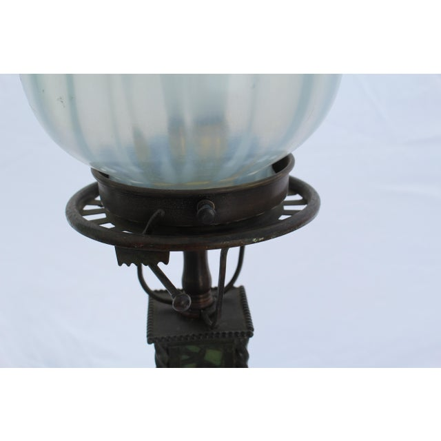 American Tiffany Style Lamp, New Glass Re-Wired For Sale - Image 3 of 7