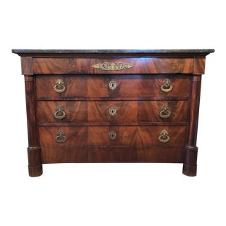 19th Century French Empire Flame Mahogany Chest of Drawers With Bronze Ormolu For Sale