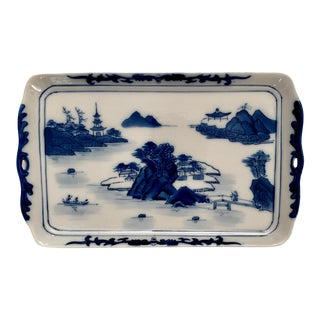 Vintage Blue and White Chinoserie Hand Painted Ceramic Tray For Sale