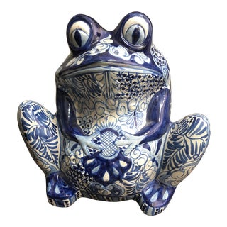 Vintage Blue & White Talavera Mexican Pottery Frog Planter For Sale