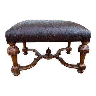 Vintage Bench/Ottoman Upholstered in Faux Ostrich Leather For Sale