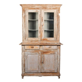 A Painted Pine Buffet Deux Corps For Sale