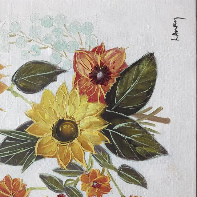 Traditional Vintage Original Floral Painting For Sale - Image 3 of 10