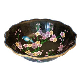 Cloisonné Bowl With Prunus Blossom Decor For Sale