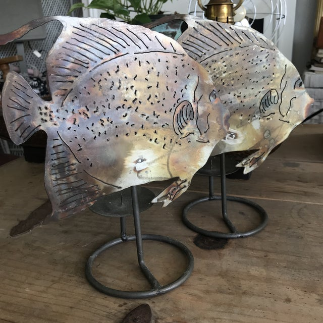 Brutalist Metal Fish Candle Holder - the Pair For Sale - Image 4 of 13