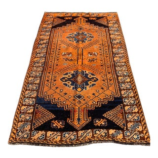 "1950's Vintage Bactiari Hand Knotted Wool Area Rug- 4'10"" X 6'10"" For Sale"