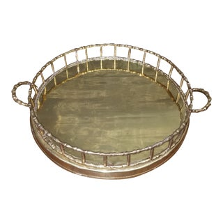 Hollywood Regency Round Brass Tray With Brass Bamboo Gallery For Sale