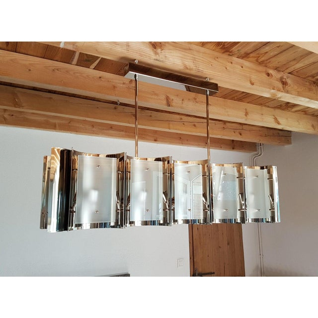 D'Lightus Mid-Century Modern Style Dlightus Bespoke Nickel and Frosted Glass Chandelier For Sale - Image 4 of 12