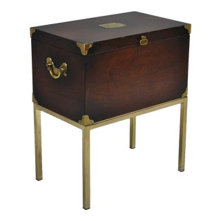 20th Century Campaign Lane Mahogany Box Chest on Brass Stand Side Table For Sale