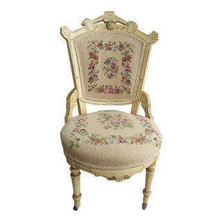 Antique Victorian Chair-Needlepoint/Petitpoint Upholstery For Sale