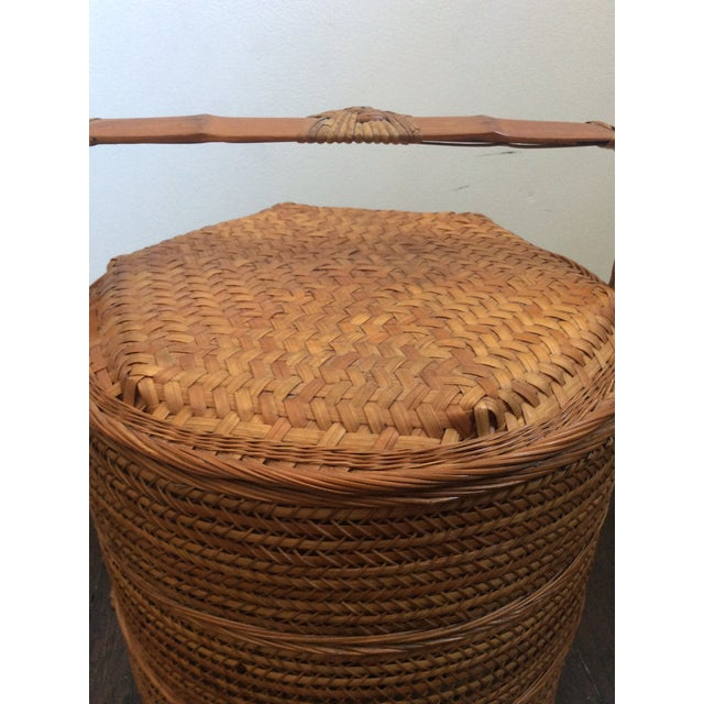 Asian Antique Chinese Tiered Wicker Basket For Sale - Image 3 of 7