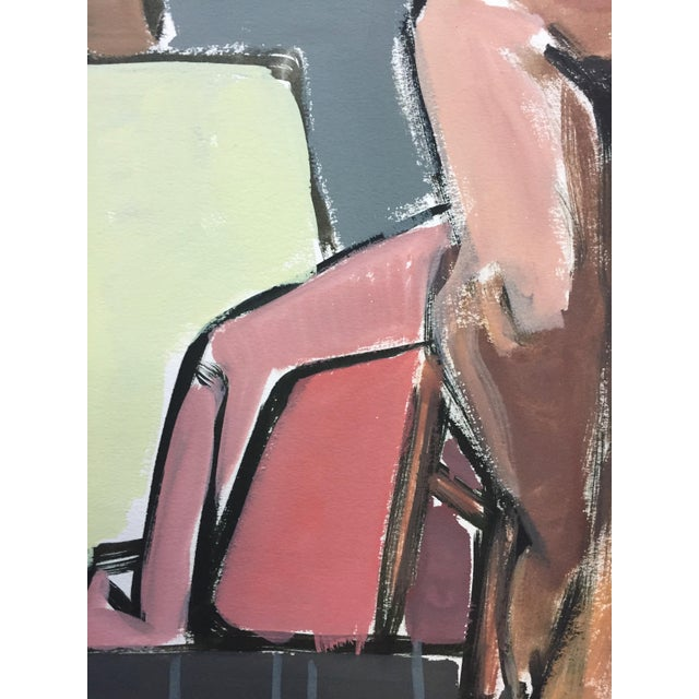 """Abstract 1950s Bay Area Figurative Movement Mid Century Painting""""Easel"""" For Sale - Image 3 of 6"""