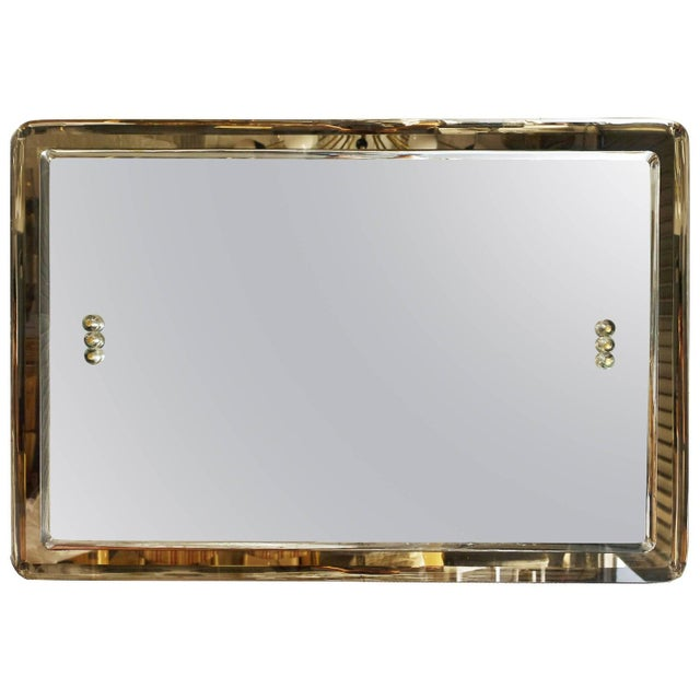 Glass Mid-Century Italian Rectangular Beveled Smoky Mirror For Sale - Image 7 of 7