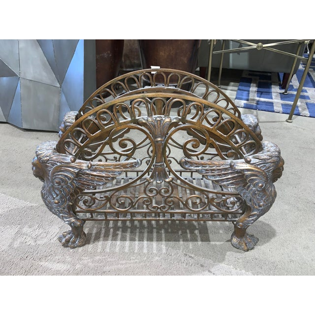1960s Regency Style Bronzed Magazine Rack With Scrolled Design Lion Supports For Sale - Image 11 of 11