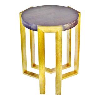 Art Deco Style Geometric Design Solid Mango Wood Side Table