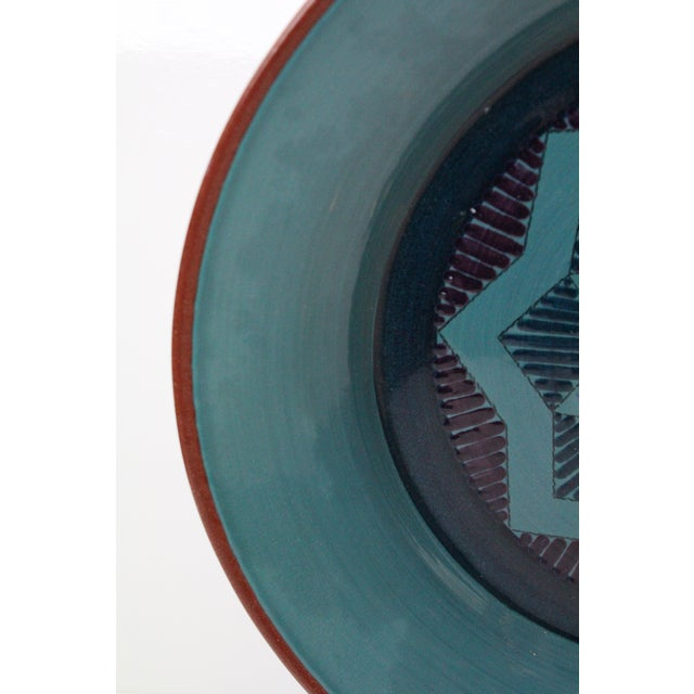 Mid 20th Century Vintage Turquoise Pottery Charger For Sale - Image 5 of 8