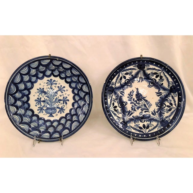 Pair Antique French Faience Blue and White Chargers, Circa 1890-1910. For Sale - Image 4 of 4