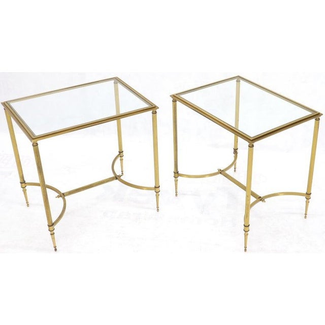 Gold Pair of Solid Brass Glass Tops Stretcher Janson Style End Occasional Tables For Sale - Image 8 of 13