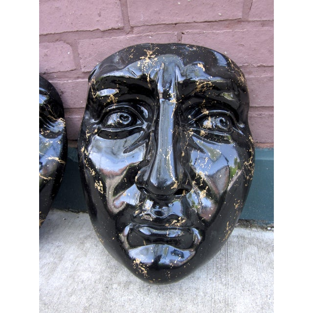 Fornasetti Late 20th Century Black and Gold Splatter Paint Plaster Face Mask Wall Sculptures - a Pair Fornasetti Style For Sale - Image 4 of 11