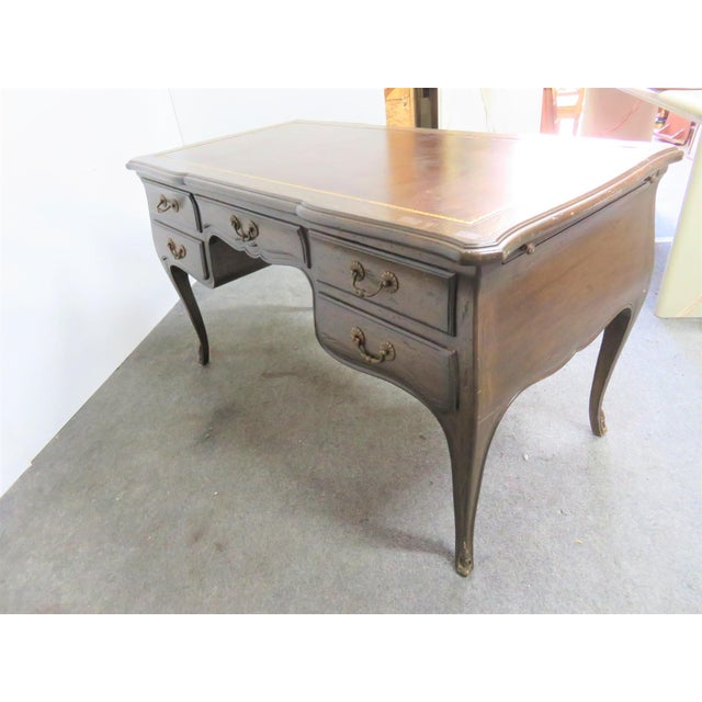 Metal Louis XV Leather Top Writing Desk For Sale - Image 7 of 9