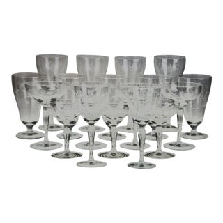Vintage Etched Glass Stemware - Group of 18 For Sale