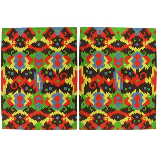 Pair of Edward Fields 1972 Colorful Geometric 6' X 8' Rugs For Sale