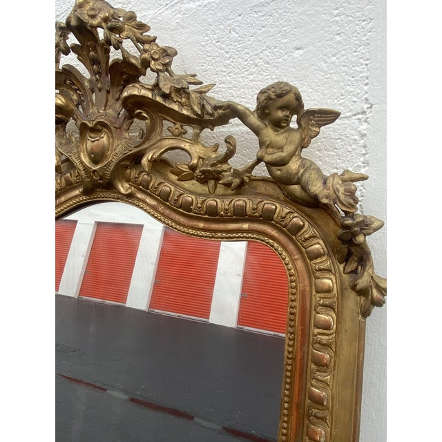 French Giltwood Carved Flowers and Cherub Louis Style Mirror For Sale - Image 9 of 13