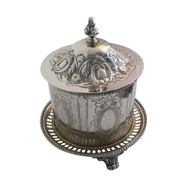 Silver Plate Biscuit Box - Image 1 of 6