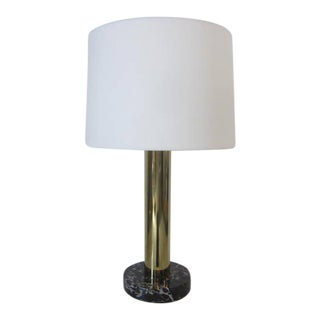 Nessen Brass and Marble Table Lamp For Sale