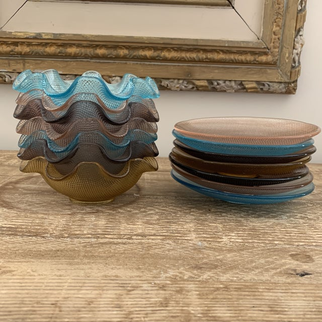 Colorful Vintage Glass Dessert Bowls and Saucers For Sale - Image 11 of 12