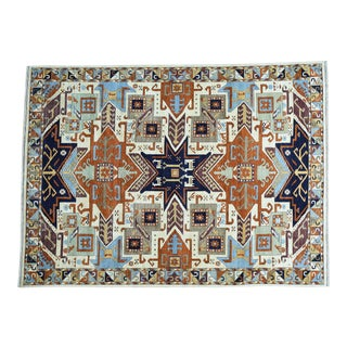 Hand-Knotted Geometric Design Kazak Pure Wool Rug For Sale
