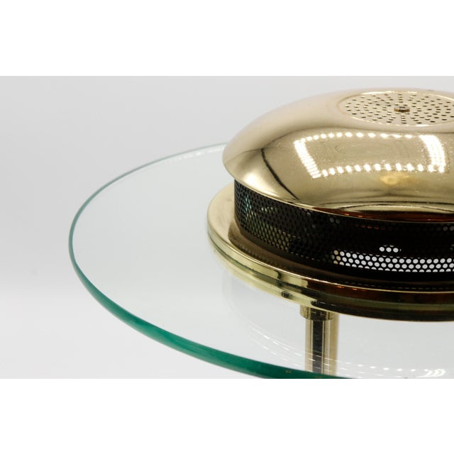 1970s Italian Mid Century Polished Brass and Glass Table Lamp With a Dimmer Switch For Sale In New York - Image 6 of 9