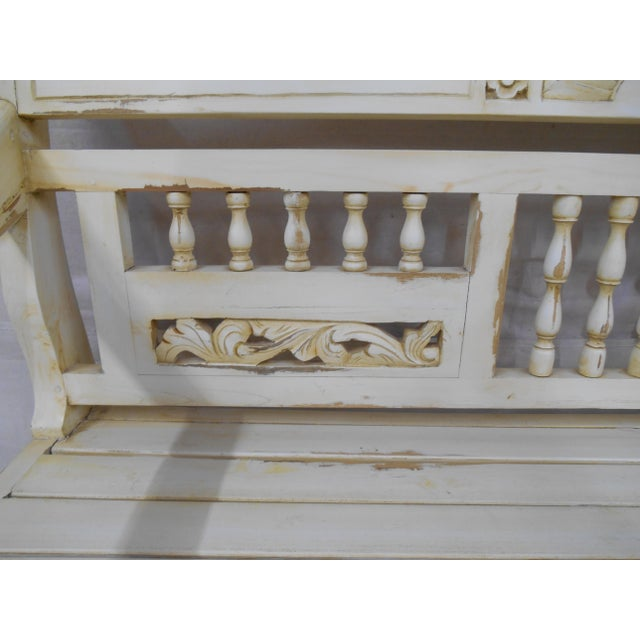 Late 20th Century Painted and Distressed French Country Garden Bench For Sale - Image 10 of 13
