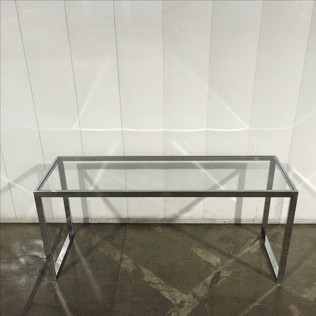 Milo Baughman Chrome Console Table - Image 6 of 7