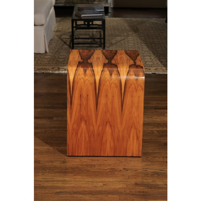 Magnificent Restored Waterfall End Tables in Bookmatched Teak, Circa 1975 For Sale - Image 4 of 13