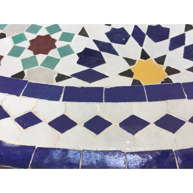 Mid 20th Century Moroccan Round Mosaic Outdoor Tile Table in Fez Moorish Design For Sale - Image 5 of 10