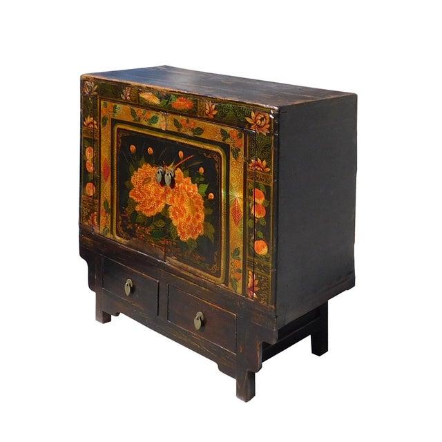 Asian Oriental Black & Orange Floral Side Cabinet For Sale - Image 3 of 6
