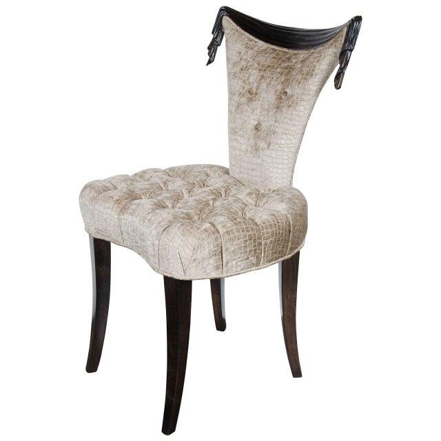 Black 1940s Hollywood Regency Draped Chair by Grosfeld House in Ebonized Walnut For Sale - Image 8 of 8