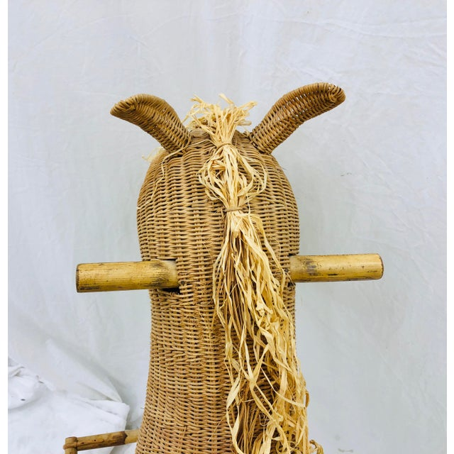 Vintage Wicker & Rattan Rocking Horse For Sale - Image 10 of 12