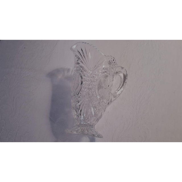 Simply Beautiful Etched Bird Motif Clear Cut Glass Footed Pitcher For Sale - Image 10 of 12