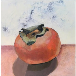 """""""Persimmon"""" Contemporary Still Life Acrylic Painting For Sale"""