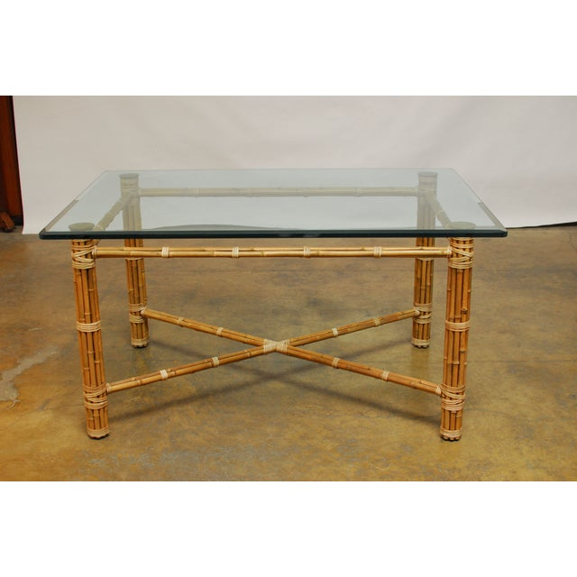 McGuire Reeded Bamboo Rectangular Dining Table - Image 3 of 8