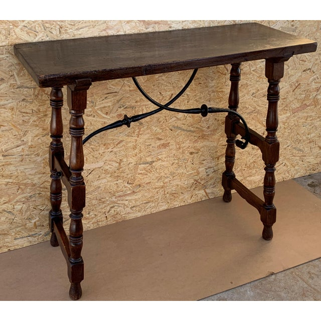 19th Spanish Console Table With Iron Stretcher and Shaped Legs, Side Table, Baroque For Sale In Miami - Image 6 of 11