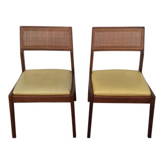 Jens Risom Style Walnut Cane Back Side Chairs - a Pair For Sale