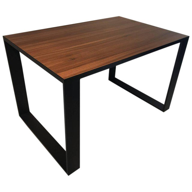 Rectangular Iron Cube Table with Embedded Wood Top, Dinner Table, Desk Table For Sale