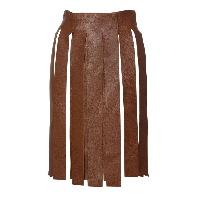Prada Brown Pebbled Leather Fringe Waist Belt / Skirt Overlay For Sale